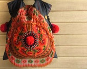 Ethnic Fringe Tote Bag with chunky pom pom /// Gypsy  // embroidery // tribal