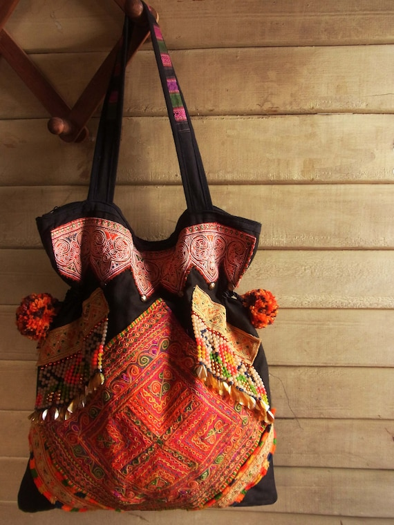 Ethnic Fringe Tote Bag from upcycled tribal textile. Hippie // embroidery // slouch // colorful