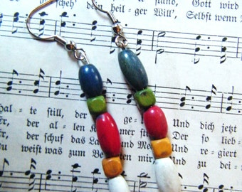 Vintage wooden beads multi-colored earrings, recycled beads