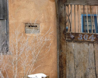 Santa Fe Fine art Print, Weathered Door Photography, rustic 5x7 photo, neutral earth tone art, chic southwest decor, New Mexico adobe print