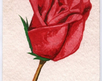 ACEO Red Rose Watercolor Painting