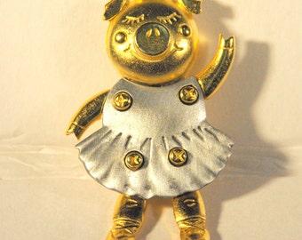 Vintage Ballerina Pig Brooch by JJ Jewelry - Jonette Jewelry, Pig Collector,The Happy Pig Collectors Club