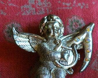 Vintage Cherub Brooch.Cupid,Putto,Valentine's Day. FREE Shipping
