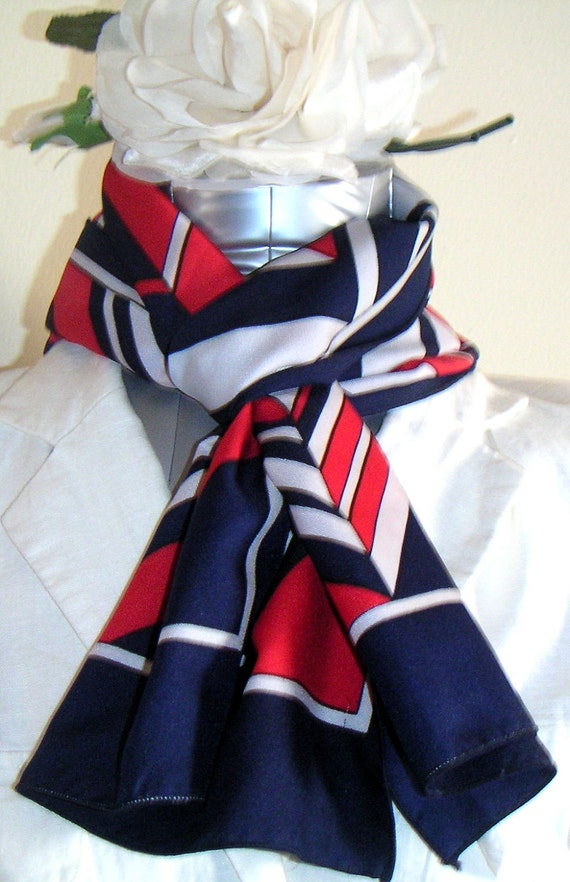 Vintage P Saint Hilaire Scarf, Red, White and Blue.