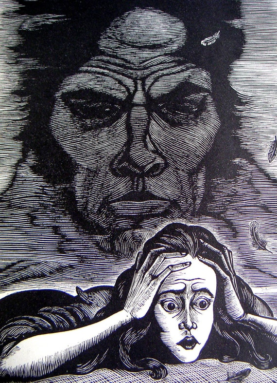Collectible Books -Jane Eyre by Charlotte Bronte, Wuthering Heights by Emily Bronte, Wood Engravings by Fritz Eichenberg,Gothic Novels, 1943