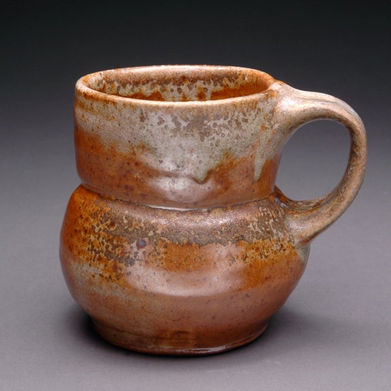 Brown and Orange Shino Glazed Wood Fired Coffee or Tea Mug with Dark Brown and Black Microcrystals