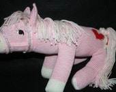 Handcrafted Sock Monkey Horse/Pony available in Brown, Pink, Blue, Yellow, Red or Green