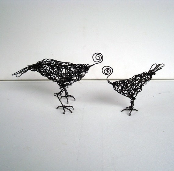 SALE- Big and Little SPIRAL BIRDS - Unique Wire Bird Sculptures - Card and Photo Holders