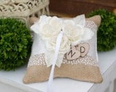 Burlap with Lace and Ribbon Rustic Ring Bearer Pillow with Ivory Flowers with Personalized Hearts