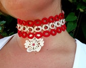 "Handmade Choker Beaded Red & White Crochet  ""Daisy Days"" OOAK w/ Vintage Components"