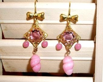"HANDMADE Pink Glass Chandelier EARRINGS-""Debutante""-Vintage Glass Twist Beads & Acrylic in Filigree"