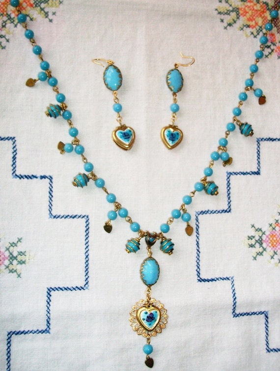 """CLEARANCE!!!!   Handmade GLASS Necklace & Earring SET, """"My Blue Valentine"""" Bohemian Beauty, Vintage Components, Perfect Valentine's Day Gift"""