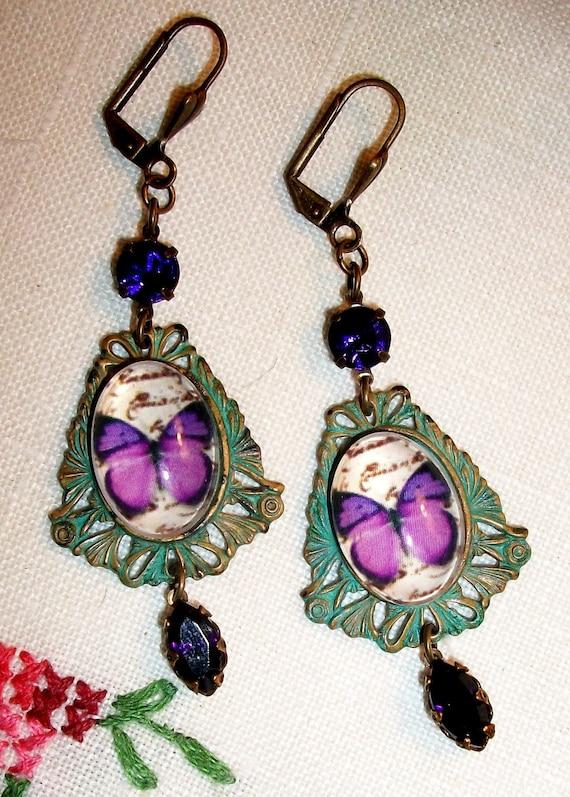 Handmade Patina Dangle EARRINGS, Butterflies, Verdigris Pierced Settings, OOAK Bohemian, Violet & Green