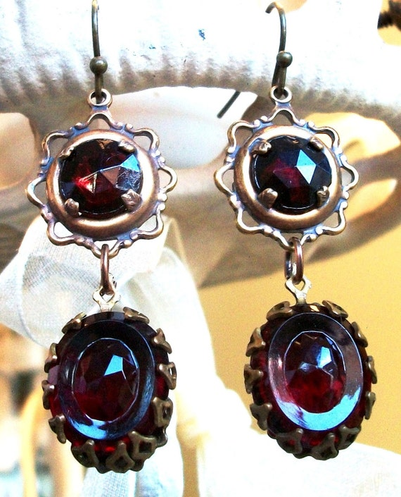 "SALE! - Deep RED GLASS Earrings - ""Ruby Tuesdays"" - Handmade, Detailed Settings, Victorian Statement, Unusual Vintage Stones, Gorgeous!!"