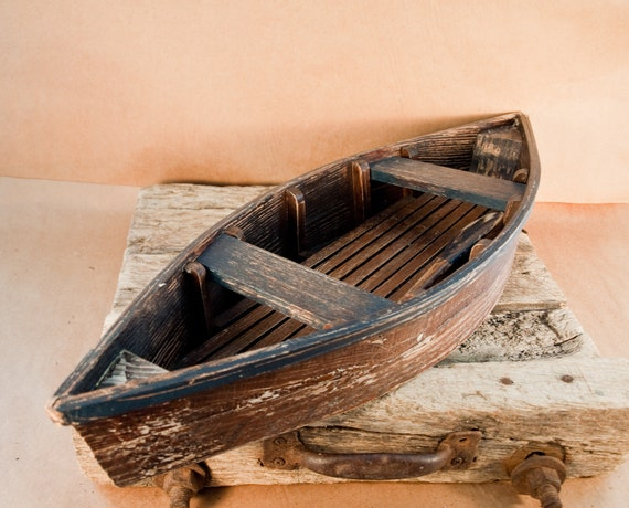 "Vintage Wooden Row Boat, Rustic with Paddle, Boat is 29"" long"