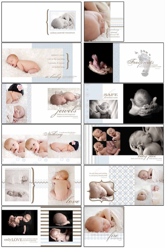 50% OFF SALE!!!!! Baby Boy Blues Photobook Template Photoshop Album Template Square Format