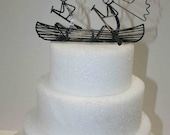 Bride and Groom Canoe Cake Topper