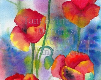 Print Watercolor Painting Poppies Red Flowers 8x12 by Alicia VanNoy Call