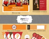 Sock Monkey Birthday Party Decorations and Invitation Printable
