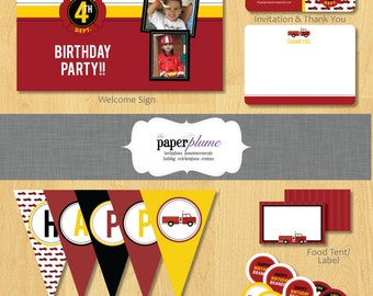 Fire Truck Party Printable Birthday Party Decor Only