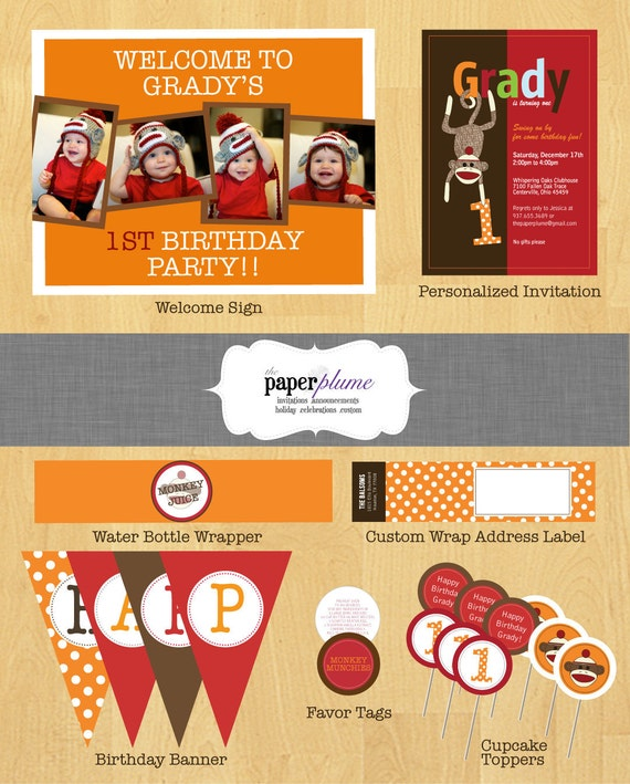 Sock Monkey Birthday Party Decorations and Invitation Printable