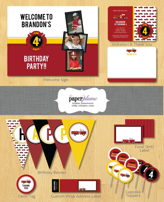 Fire Truck Party Printable Birthday Party with Invitation