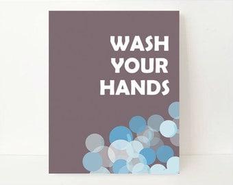 Childrens Bathroom Art Print - Wash Your Hands Print - Bathroom Art Kids - Bathroom Poster - Bathroom Wall Art Decor - Custom Color