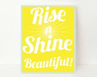 Rise And Shine, Rise And Shine Print, Beautiful Art, Kids Wall Art, Children Art Print, Kids Art Work, Kids Wall Decor, Bright Yellow, Print
