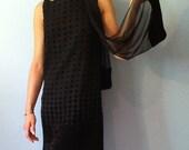 RESERVED: Vintage Mod Little Black Velvet Polka Dot Dress