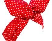 Red & White Polka Dot tiny Pin Dot wire ROCKABILLY Pin Up Headband Hair Wrap