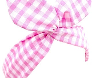 Pink & White Gingham Check Print PIN UP wire ROCKABILLY Headband