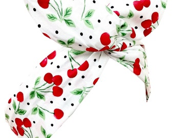 White with Red CHERRY Print Wire Headband - Hair Wrap - Pin Up - Rockabilly