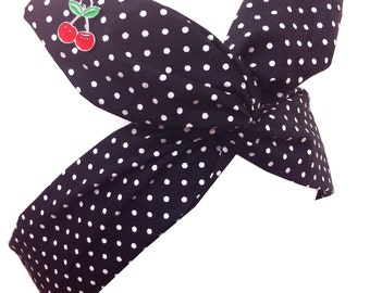 Pin up Black & White Polka Dot with Cherry Charms Wire ROCKABILLY Headband Hair Wrap