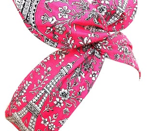 Rockabilly Wire Pin up Headband Paris - Eiffel Tower Print French Pink Hair Wrap