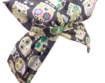 Grey Sugar Skull Print PIN UP wire ROCKABILLY Headscarf Headband Los Muertos, Day of the Dead