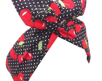 Pin Up ROCKABILLY Black Pin Dot Polka Dot Red juicy CHERRY Print Wire Headband Hair Wrap