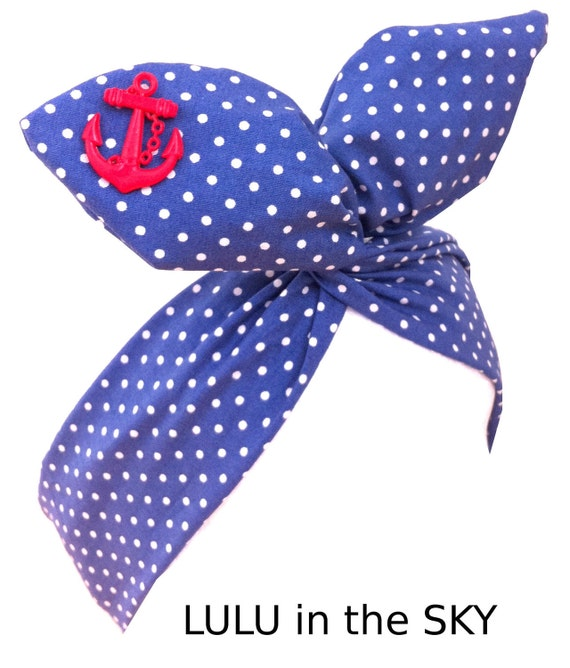 Pin Up ROCKABILLY Wire Headband - Blue Nautical Sailor girl Polka Dot Pin Dot with Red Anchor Hair Wrap