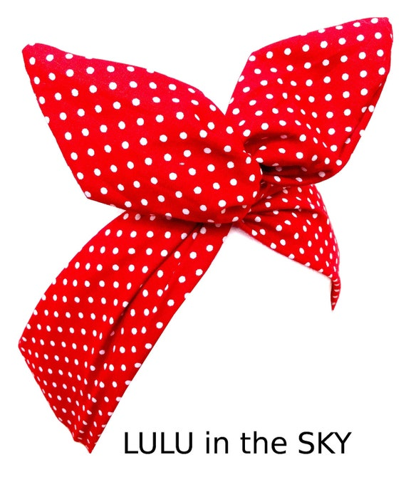 Red & White Polka Dot tiny Pin Dot wire ROCKABILLY Pin Up Headband Hair Wrap