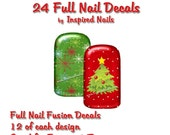 Christmas Nail Art Decals Set of 24 Full Nail for Fingers and Toes