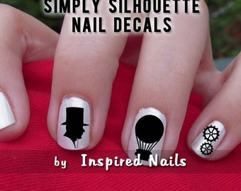 Steampunk Nail Decals Black and Clear Simply Silhouette by Inspired Nails
