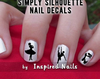 Ballet Nail Decals Black and Clear Simply Silhouette by Inspired Nails