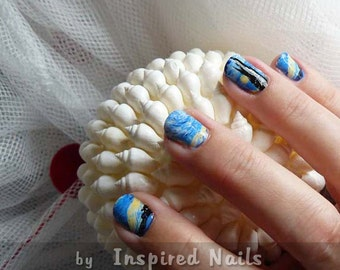 Van Gogh Starry Night Nail Art in Full Nail Decals