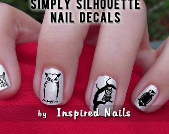 Owl Nail Decals Black and Clear Simply Silhouette by Inspired Nails