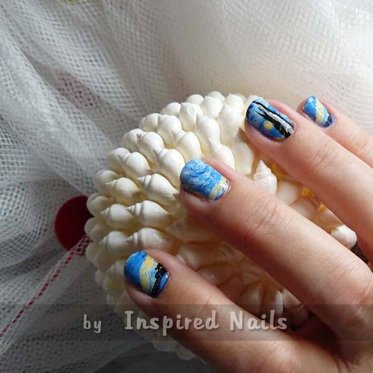 Van gogh starry night nail art in full nail decals zoom prinsesfo Gallery