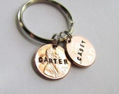 Key Chain Double Lucky Penny Two 2 Pennies Personalized On Key Ring Great Man Mens Gift