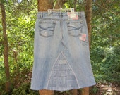 Jean Skirt,Below Knee, Basket Weave With  Patches, Made To Order