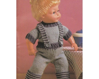 Vintage Baby Doll Knitting Pattern Dungarees and Jumper Set Fit 9 -16 inch Dolls