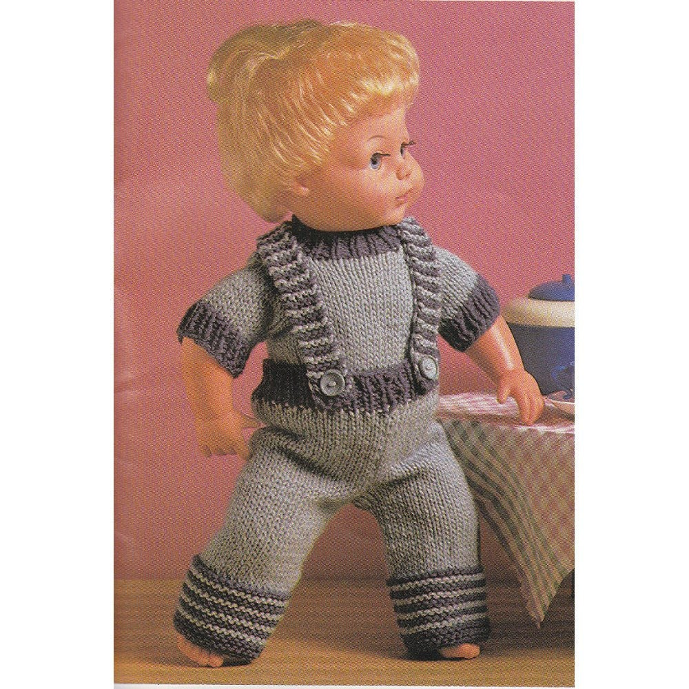 Vintage Baby Doll Knitting Pattern Dungarees and Jumper Set