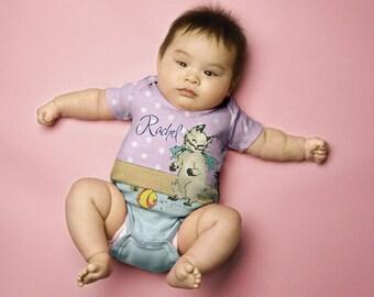 Cat Baby Shirt, Personalized Kitten Snap-Shirt, Baby Girl Romper, Baby Clothing