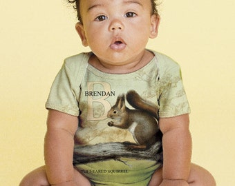 Squirrel Baby Shirt, Personalized Woodland Animal Custom Snap-shirt, Boy's Squirrel Outfit,